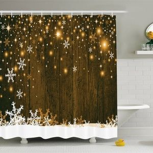 Shower Curtain Snowflakes Wooden Planks Print
